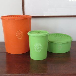Tupperware Canisters, Vintage Set of 3 Storage Containers
